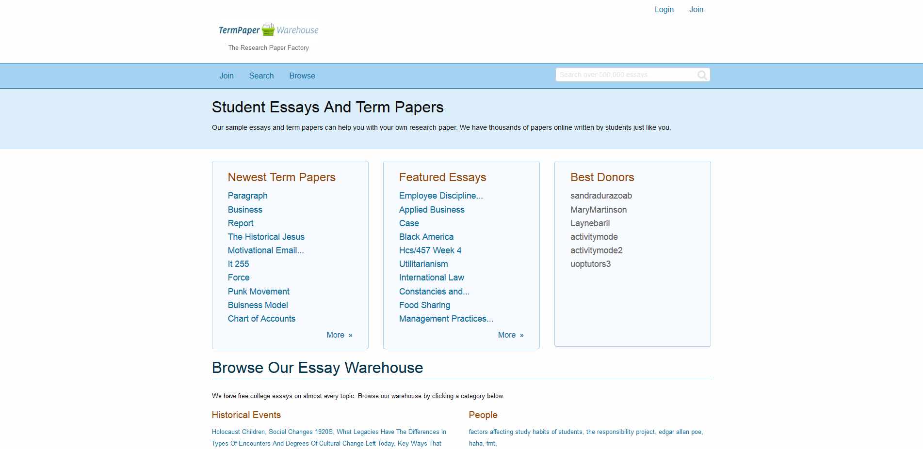 Term paper warehouse review